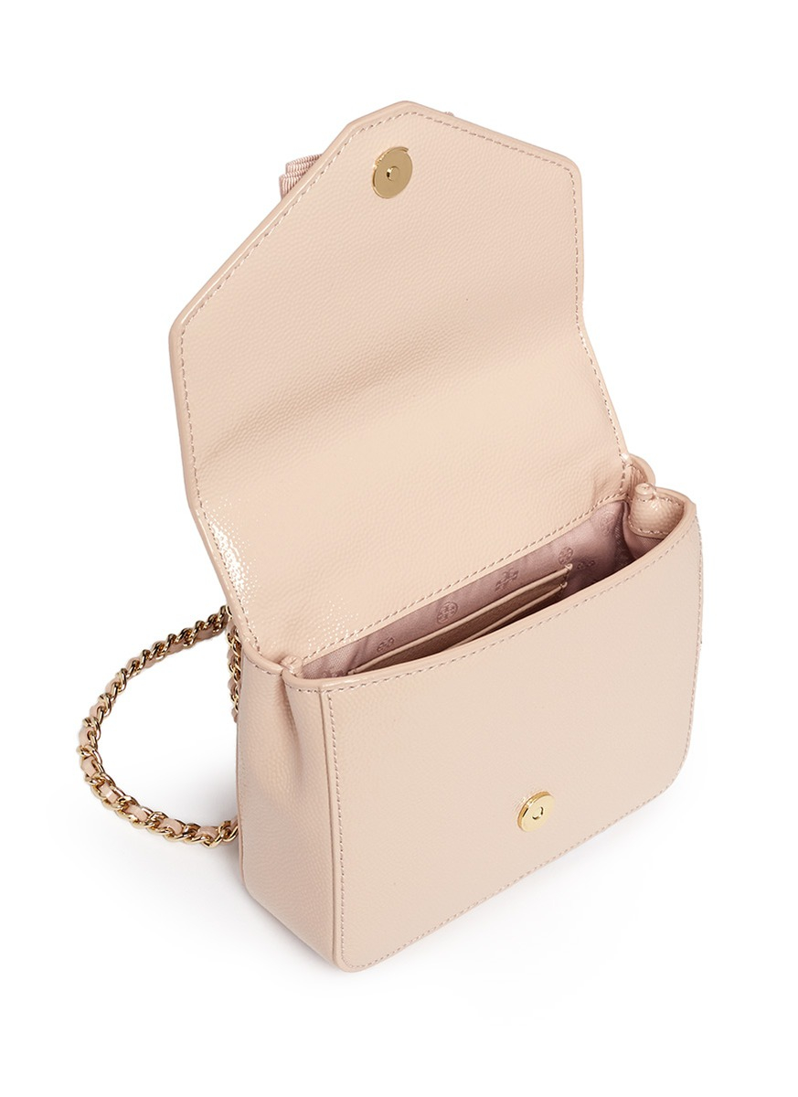 d30397368f53 Lyst - Tory Burch  deco-t  Mini Patent Leather Chain Bag in Natural