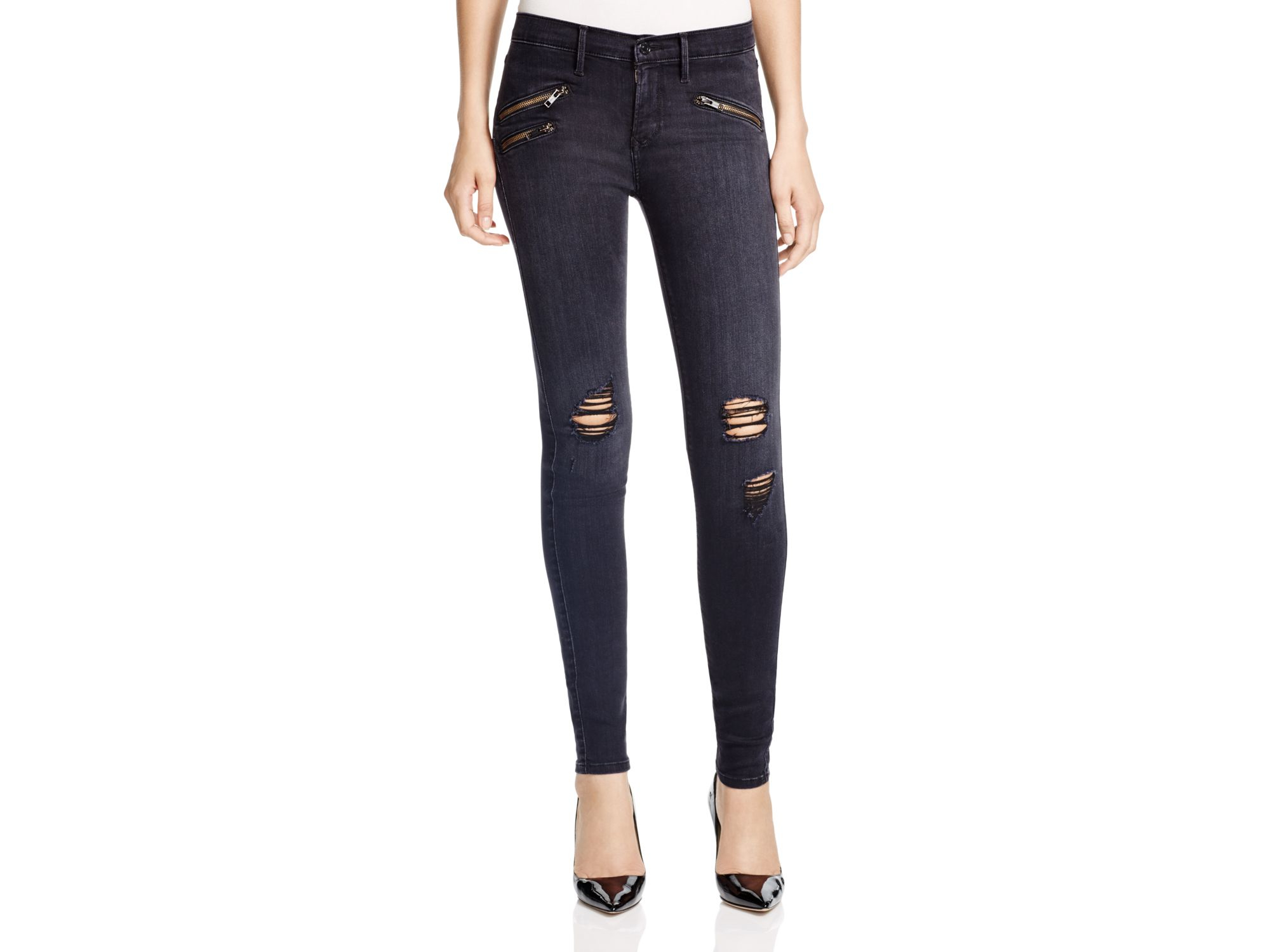 Black orchid Destructed Billie Zipper Skinny Jeans In Black Rock