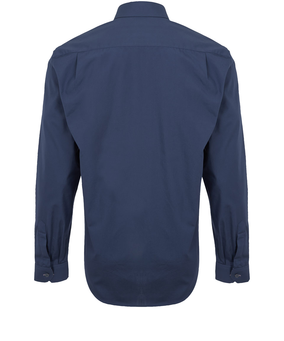 Lyst paul smith navy tailored chambray shirt in blue for men for Tailored fit shirts meaning