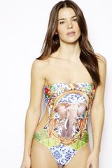 Asos Safari Elephant Print Bandeau Swimsuit