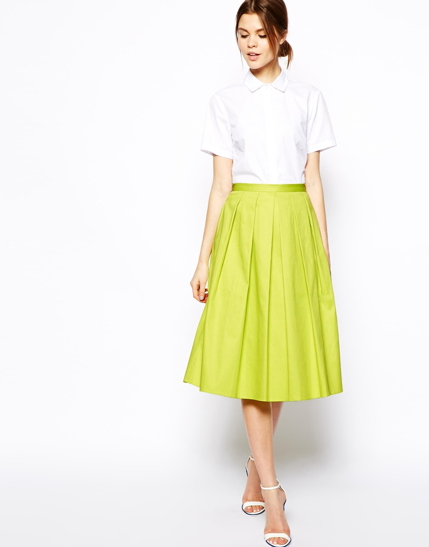 Asos Full Midi Skirt In Cotton in Yellow | Lyst