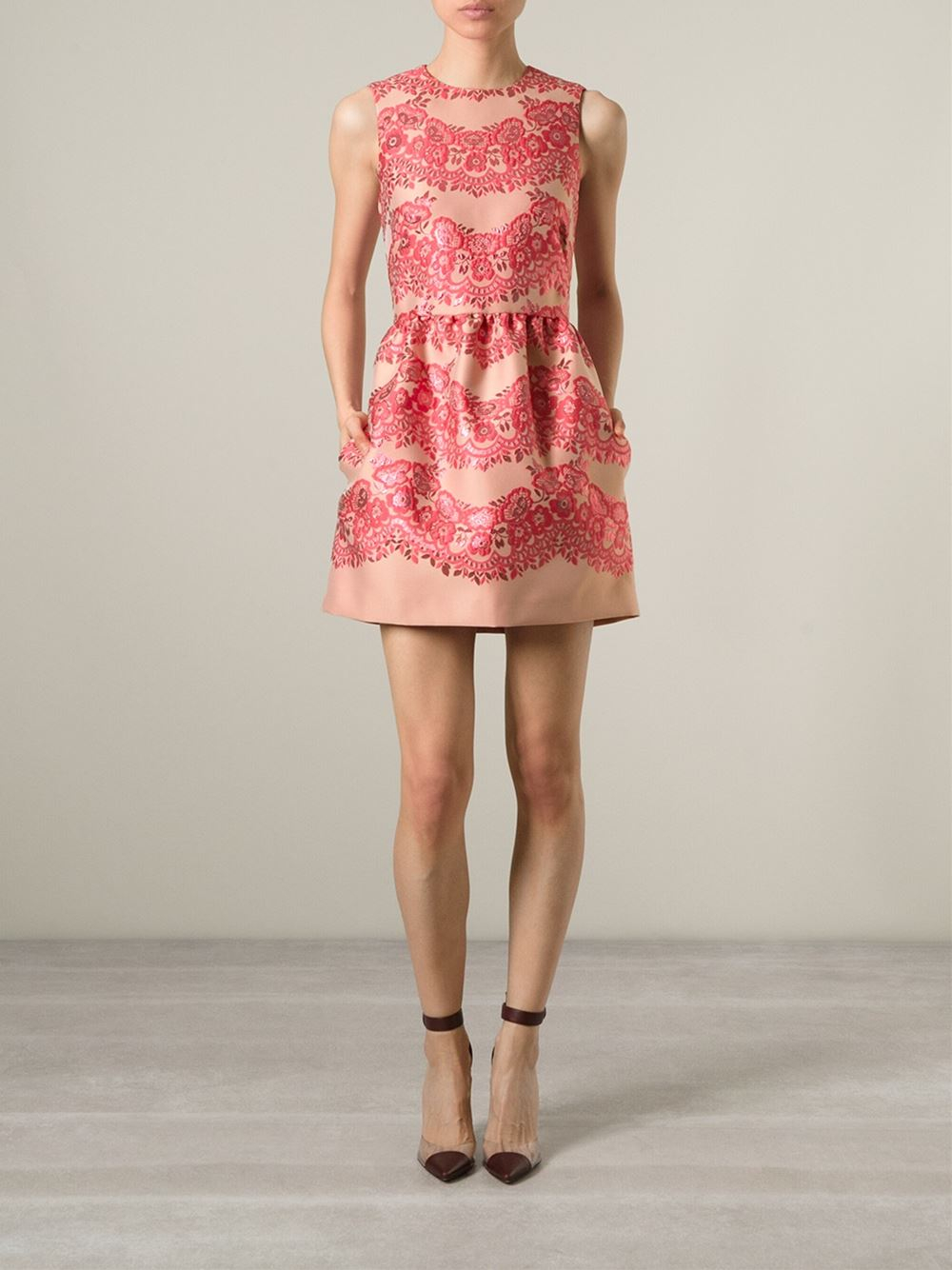 3c0afff7075 RED Valentino Floral A-Line Dress in Pink - Lyst