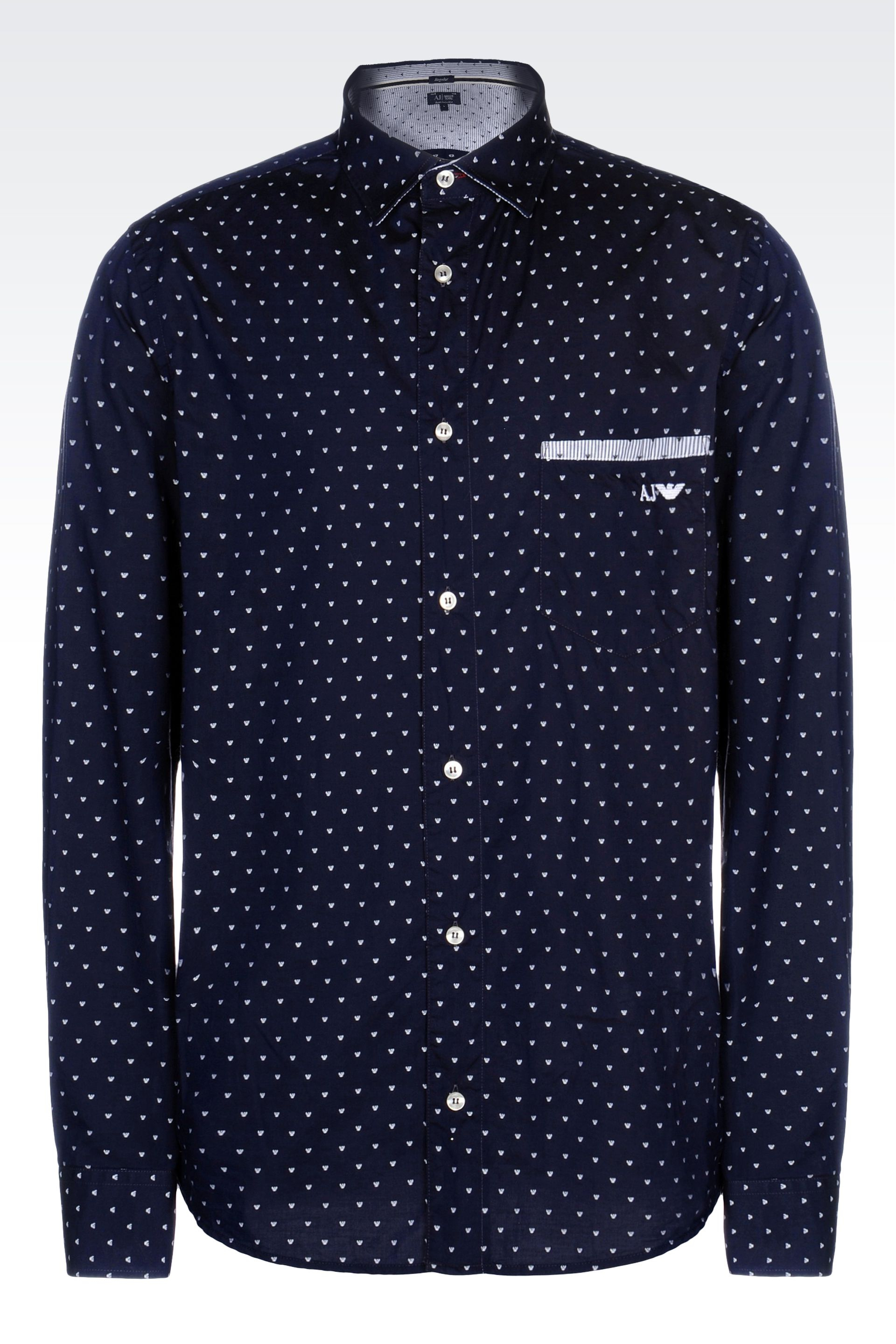 armani cotton shirt with logo pattern in blue for