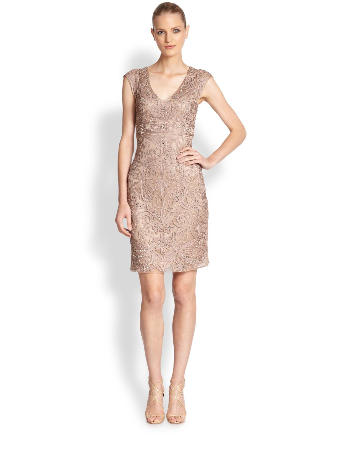 Sue wong Embroidered V-neck Cocktail Dress in Brown  Lyst