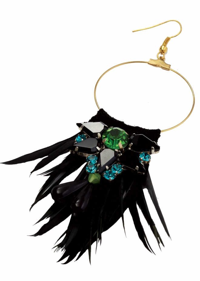 Matthew williamson Peacock Feather Jewel Earrings in Blue ...