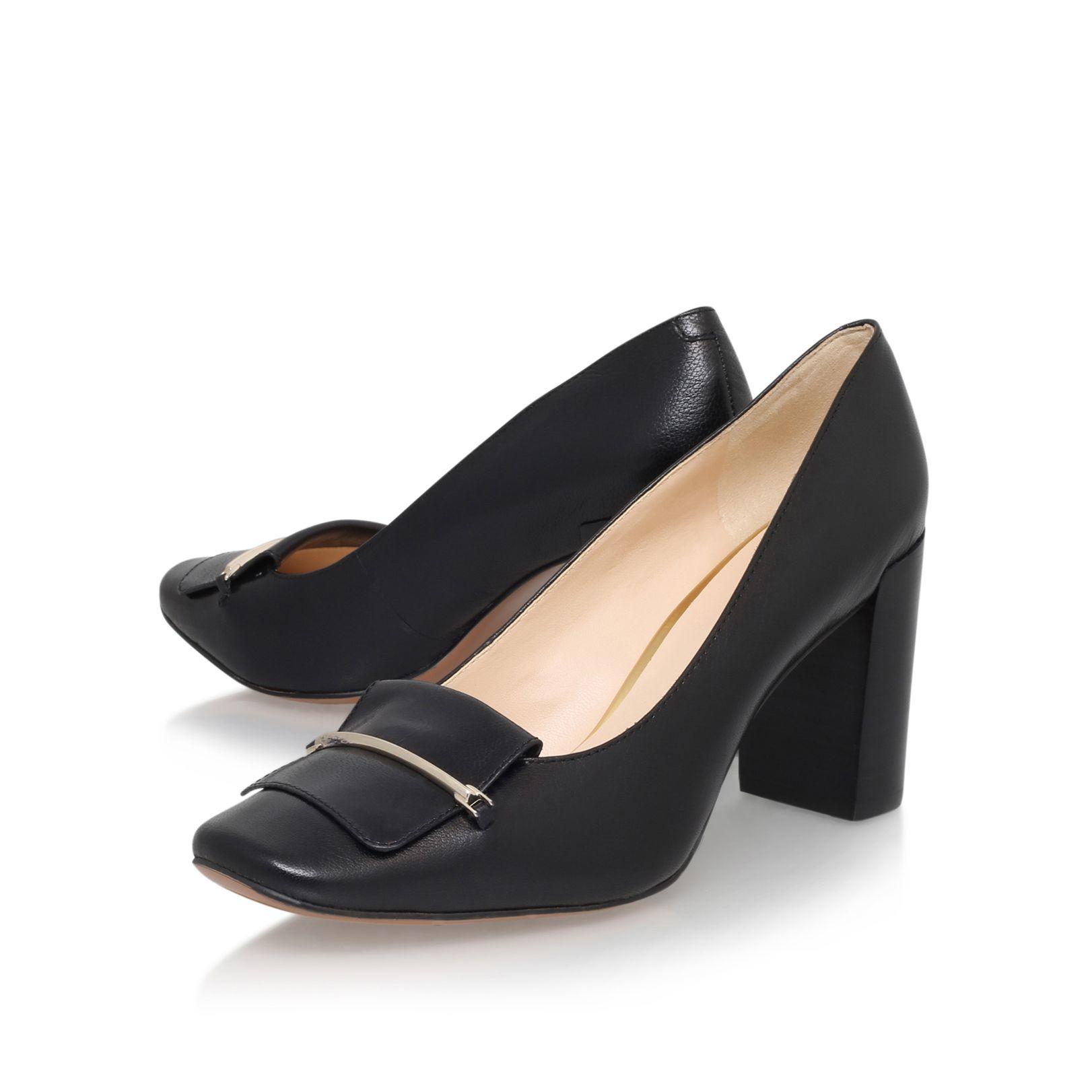 nine west newgyrl mid block heel court shoes in black lyst