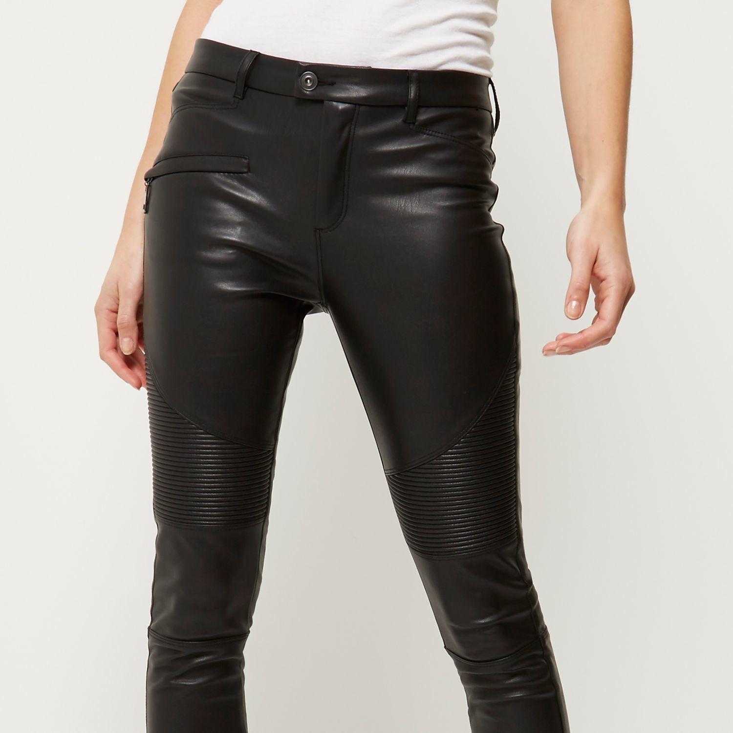 96313fc150b6 River Island Black Leather-look Biker Skinny Trousers in Gray - Lyst