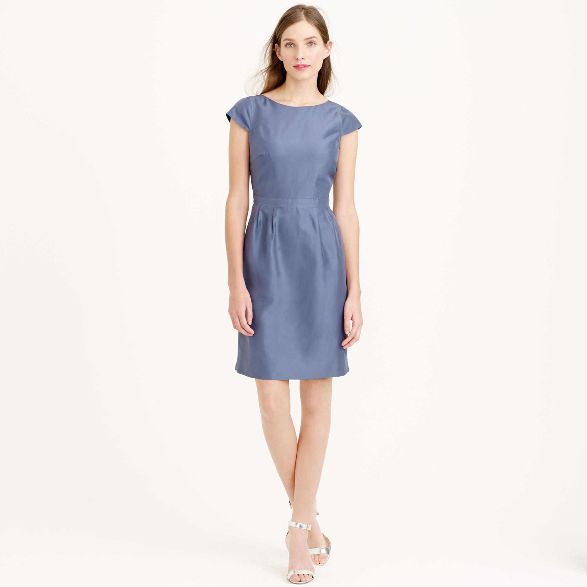 Lyst - J.Crew Petite Tessa Dress In Slub Silk in Blue d7f737a05