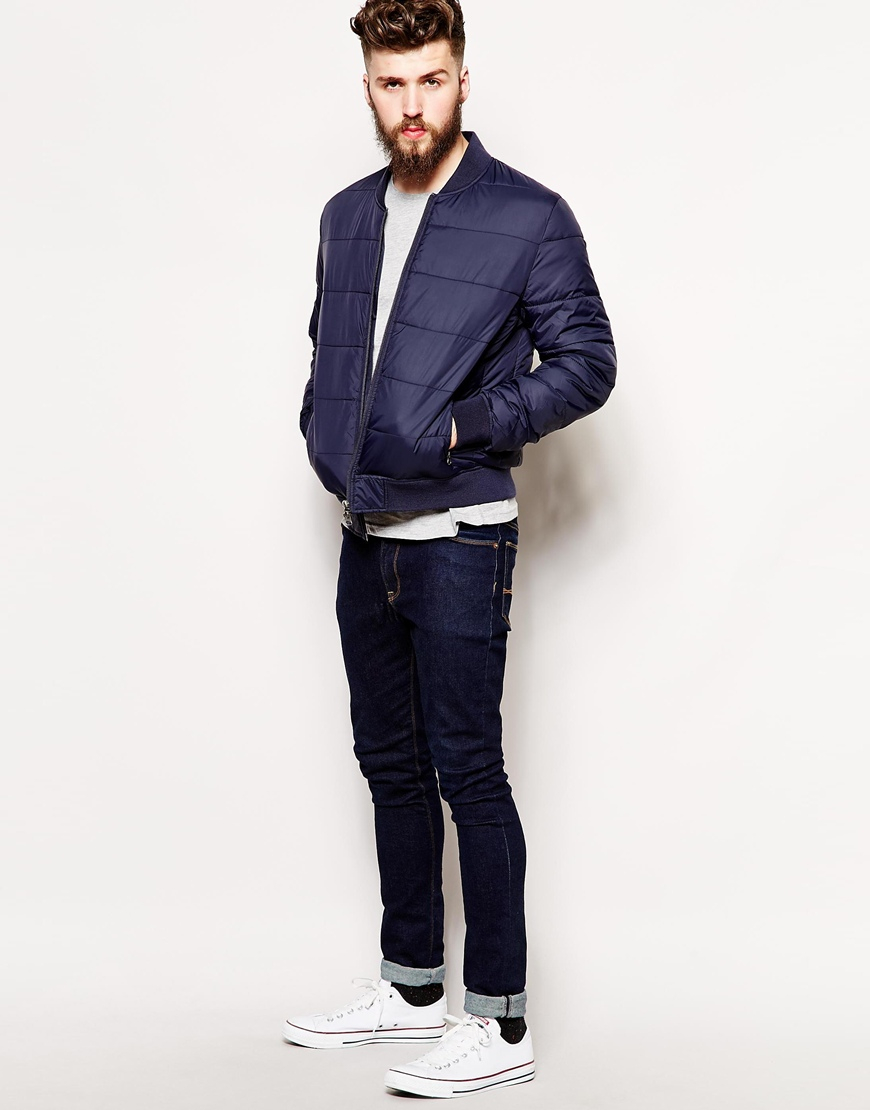 Asos Quilted Bomber Jacket in Blue for Men | Lyst : navy quilted bomber jacket - Adamdwight.com