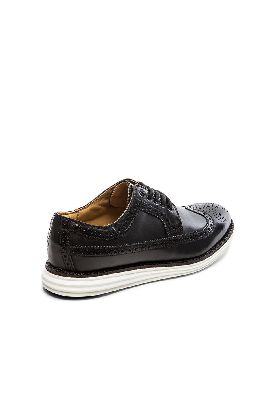 cole haan lunargrand wingtip shoes in black for