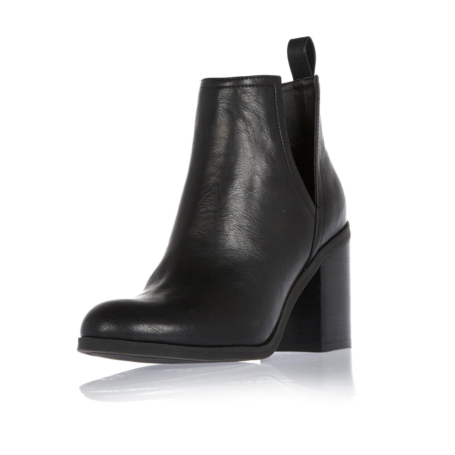 River island Black Cut-out Side Heeled Ankle Boots in Black | Lyst