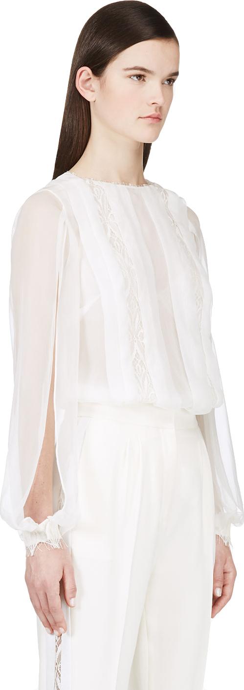 Lyst Zuhair Murad White Sheer Lace Blouse In White
