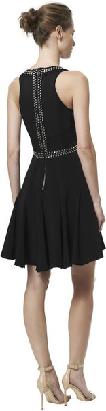 Rebecca Taylor Sleeveless Embellished Slit Neck Dress In