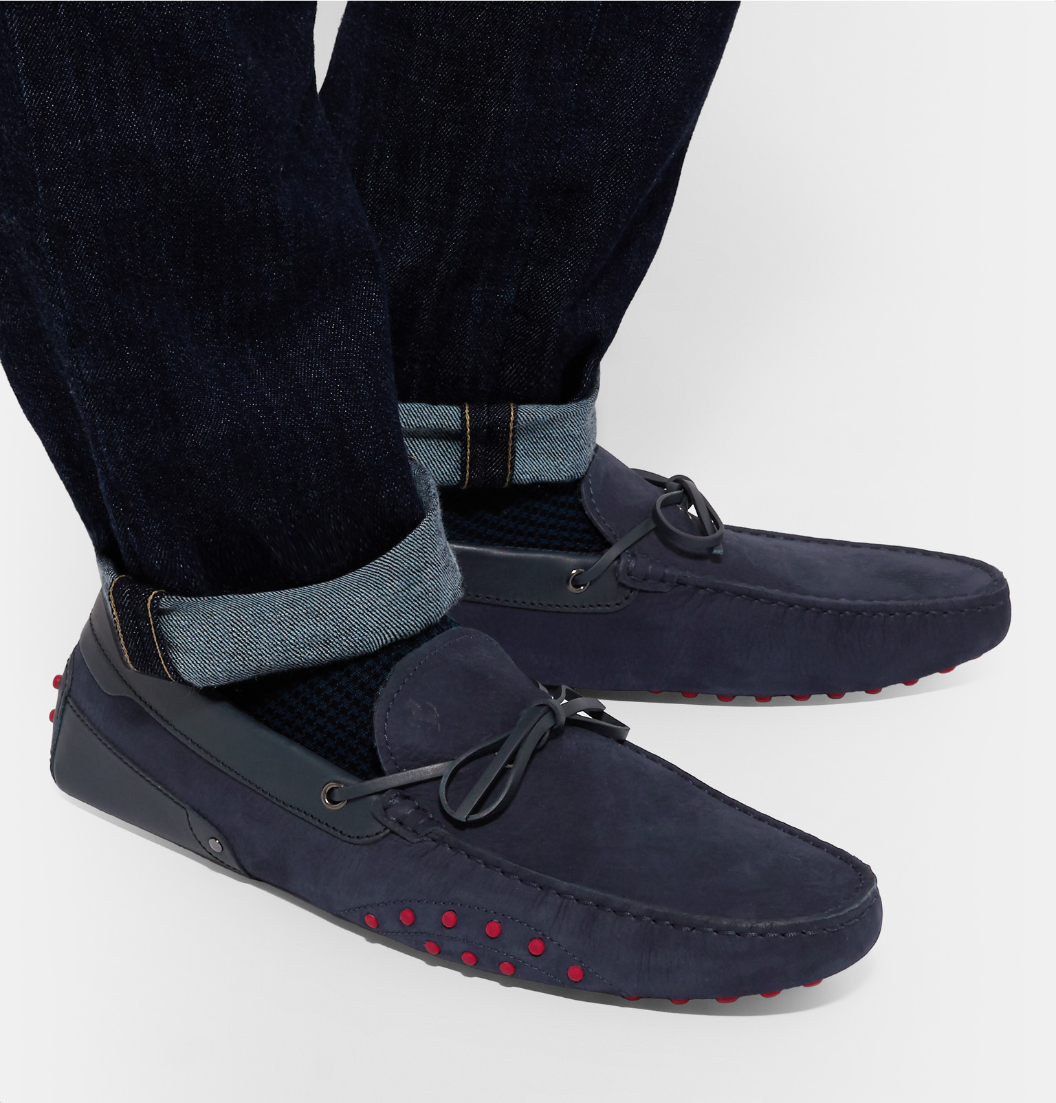 blue driving gallery leather shoes navy tod trimmed s lyst tods product normal gommino ferrari nubuck