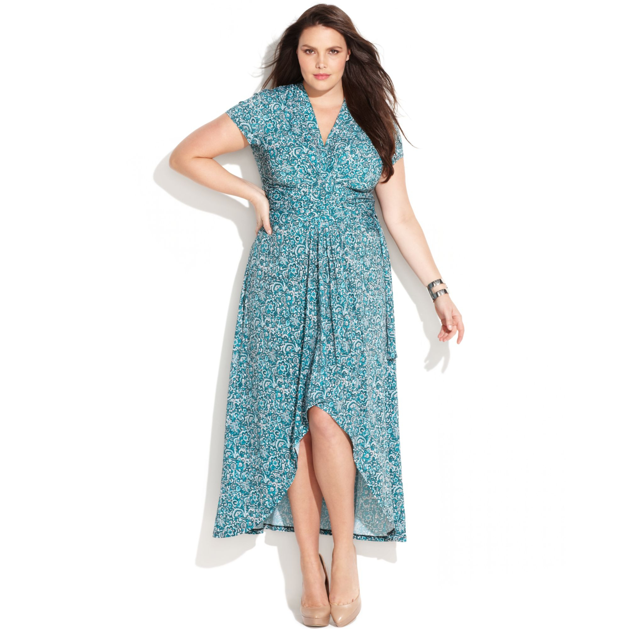 Michael Kors Plus Size Printed Faux Wrap Maxi Dress in Blue - Lyst