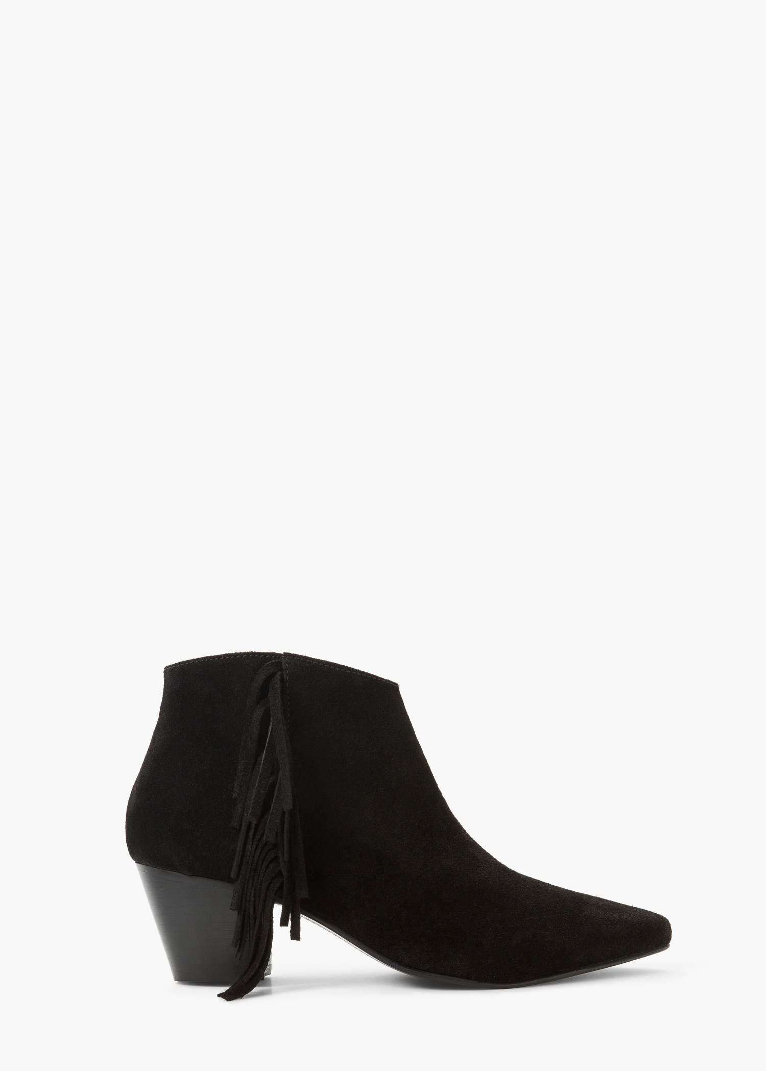 Mango Fringed Suede Ankle Boot in Black | Lyst