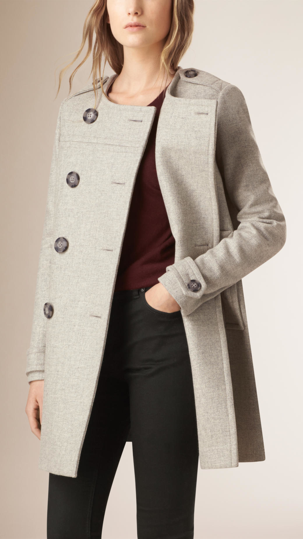 Burberry Collarless Wool Blend Coat in Gray | Lyst