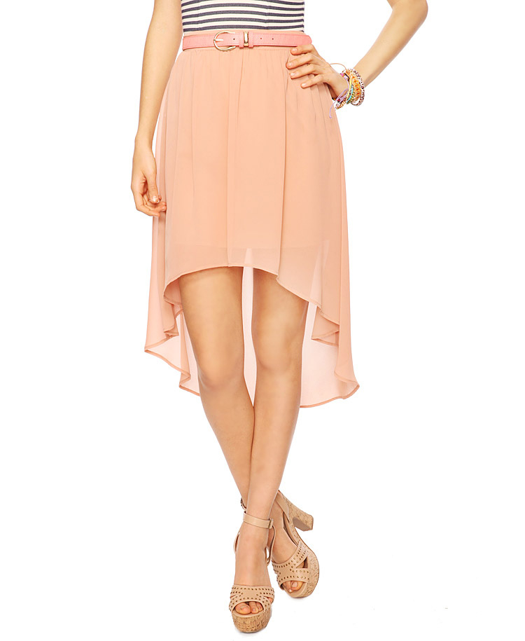 forever 21 high low chiffon skirt in beige lyst