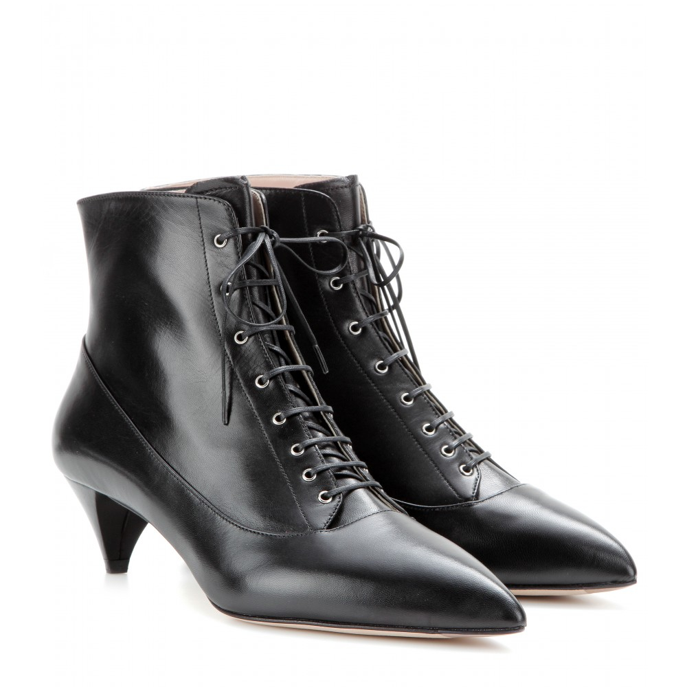 Miu Miu Lace-Up Round-Toe Booties low shipping sale online RkmPJ0G7