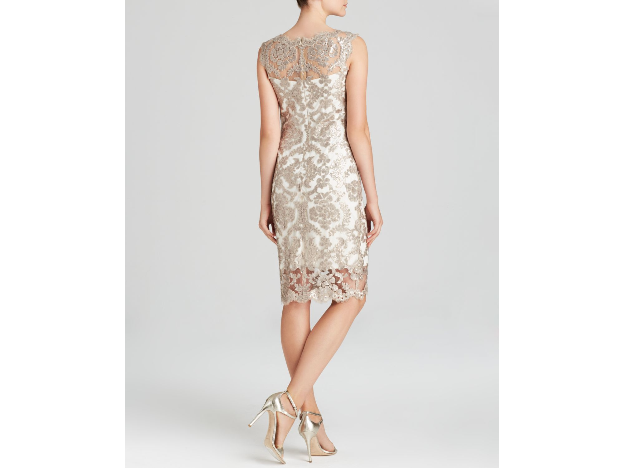 e5eab068b24e2 Lyst - Tadashi Shoji Dress - Sleeveless Illusion Neckline Sequin ...