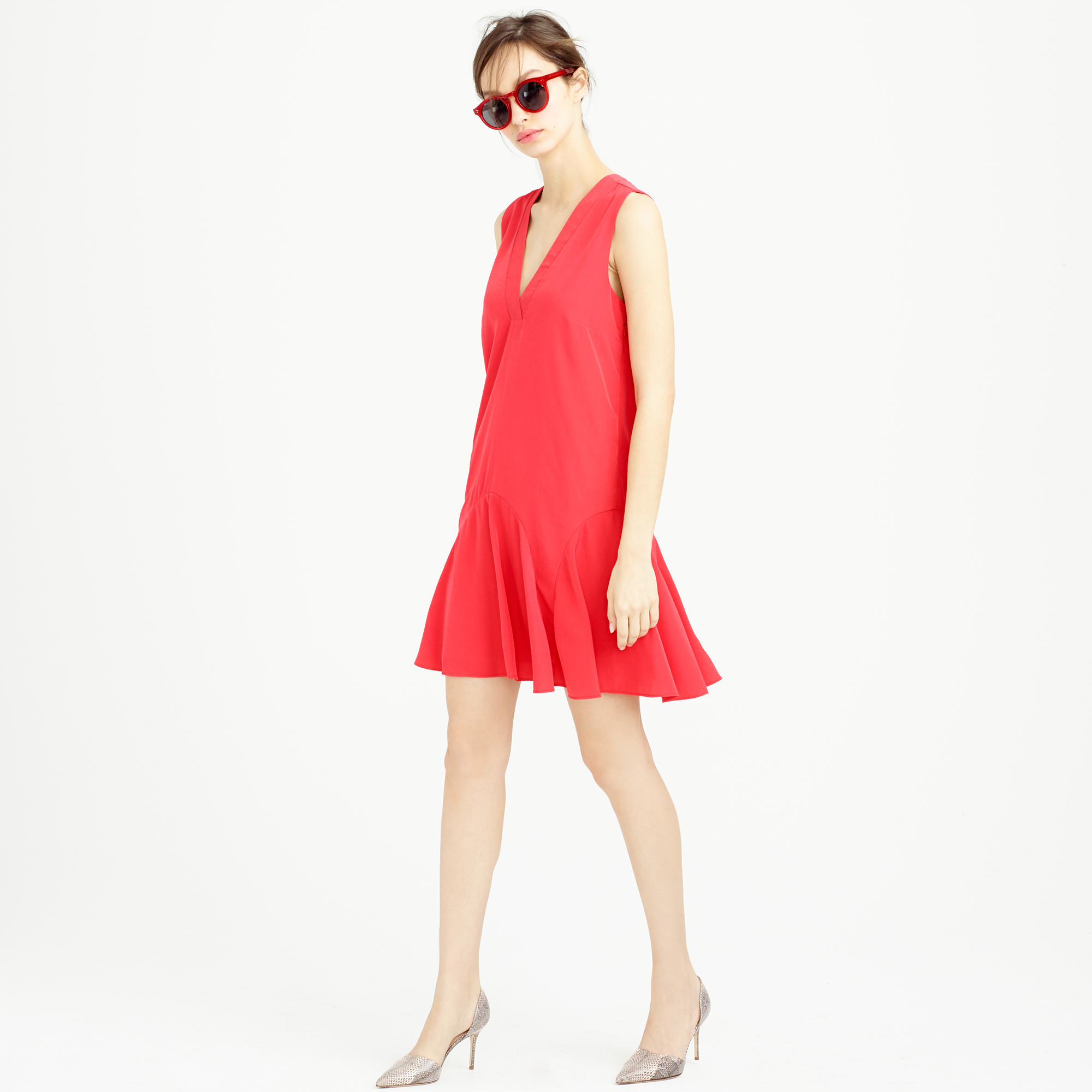 Sleeveless flounce dress in red belvedere red lyst for Jcrew com