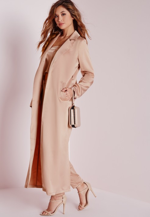 Missguided Satin Belted Maxi Duster Coat Rose Pink in Natural | Lyst