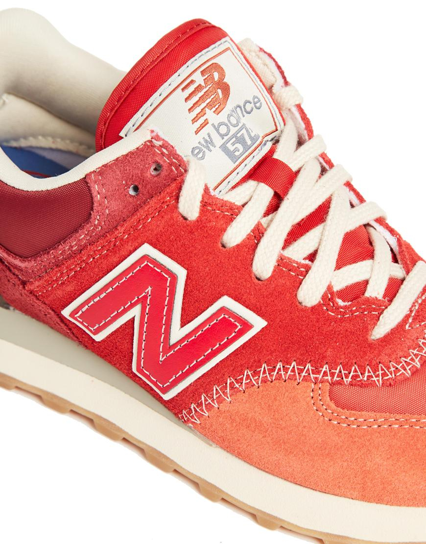new balance 574 red suede wedges