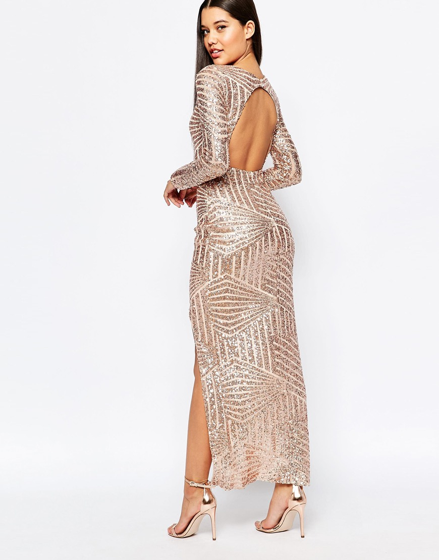 02188dc1e5 Club L Geo Sequin Fishtail Maxi Dress With Open Front in Pink - Lyst