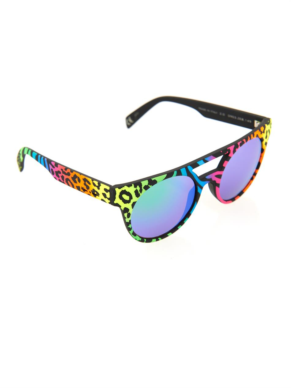 cc9083f5d9 Lyst - Italia Independent Neon Round-Framed Mirrored Sunglasses