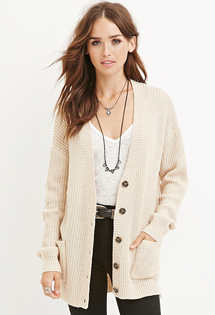Lyst Forever 21 Cable Knit Cardigan In Natural