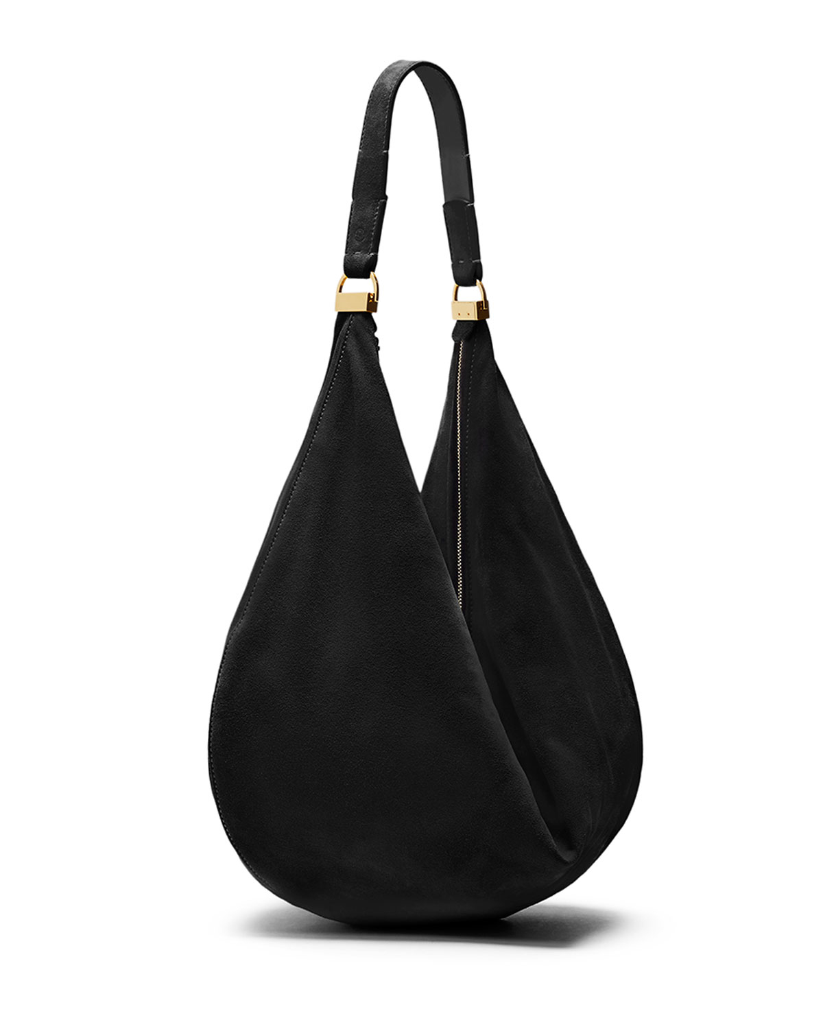 The row Sling 12 Suede Hobo Bag in Black | Lyst