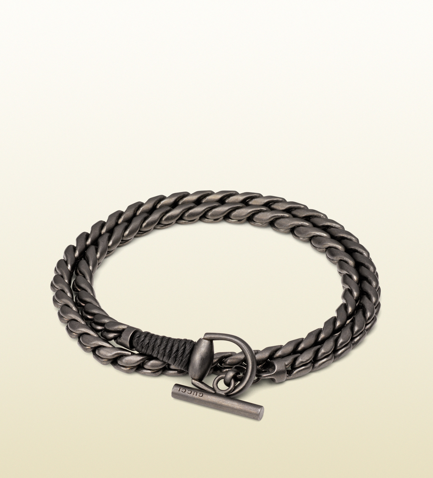 gucci silver horsebit bracelet with leather wrap in silver