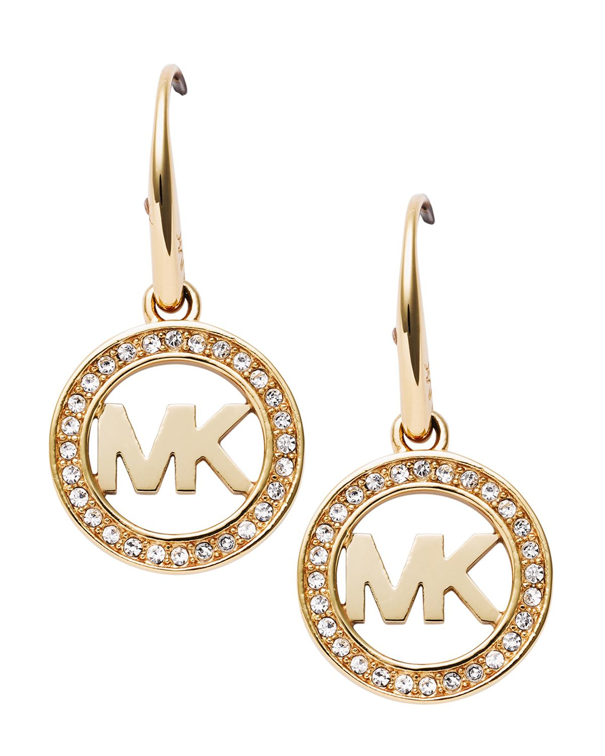michael kors pav logo earrings in gold lyst. Black Bedroom Furniture Sets. Home Design Ideas