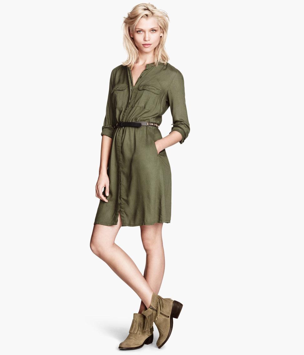 h m shirt dress in green lyst