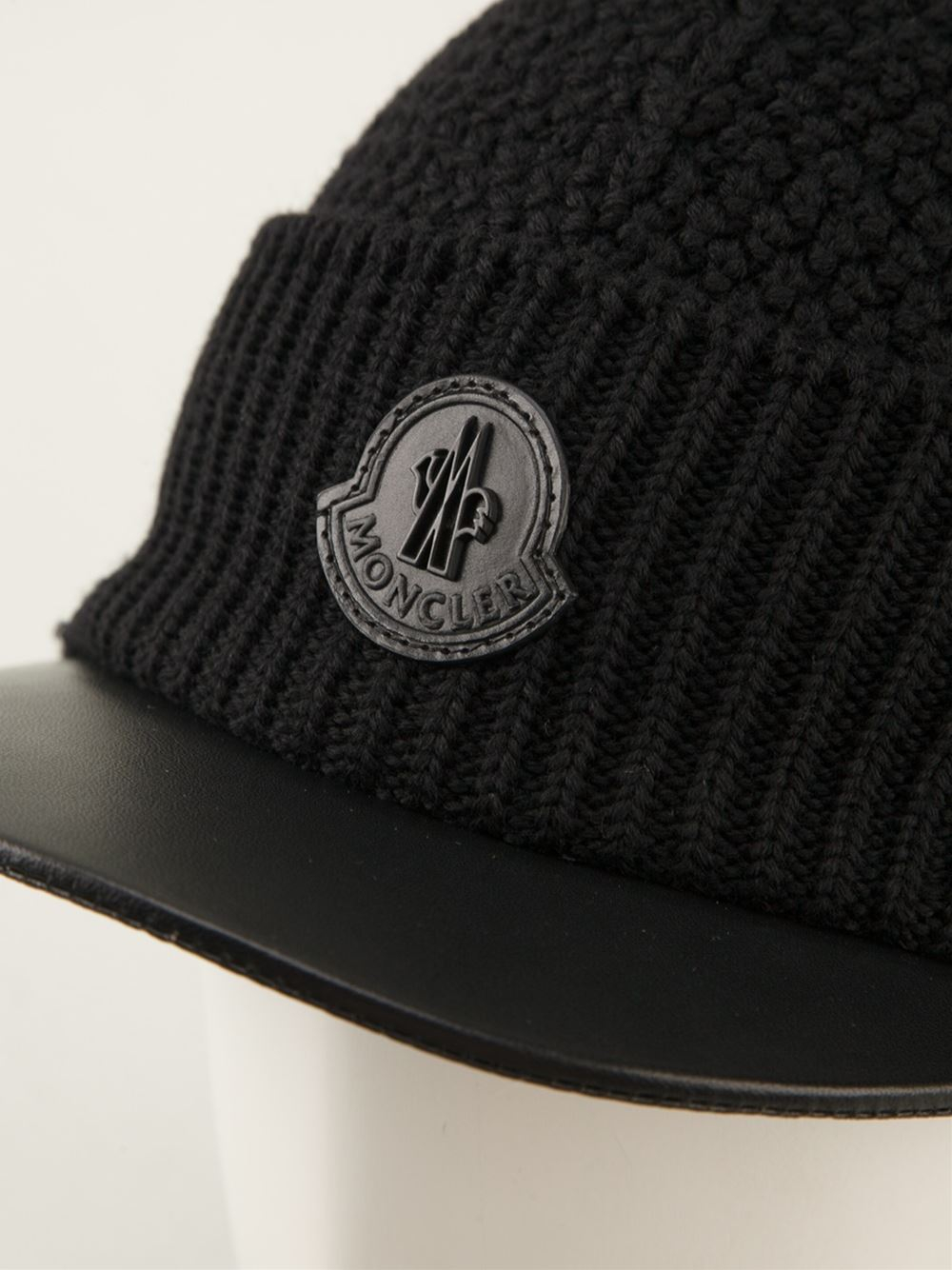Lyst - Moncler Knitted Visor Hat in Black for Men 9e1064528fc