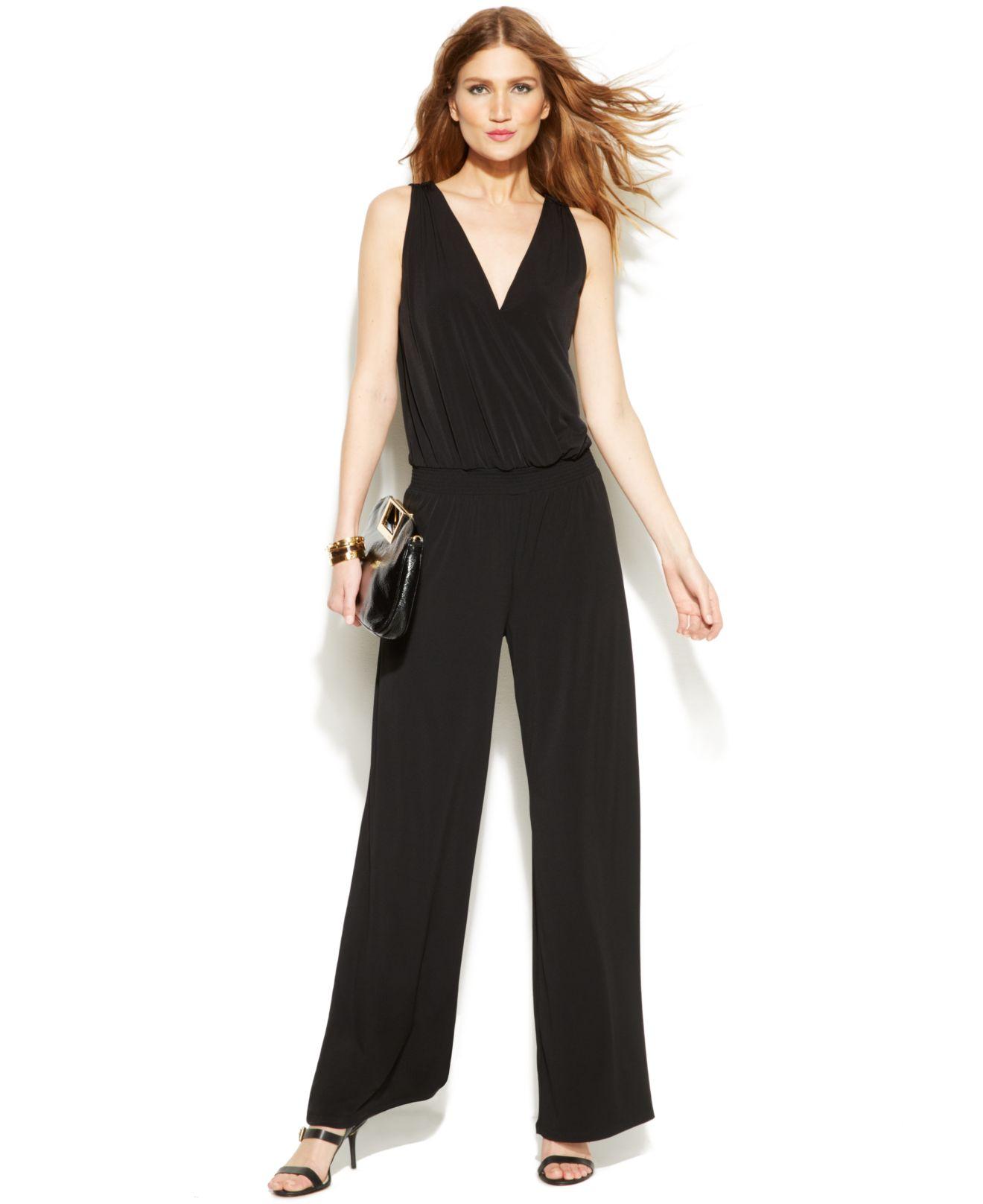 michael kors michael wide leg sleeveless jumpsuit in black black gold lyst. Black Bedroom Furniture Sets. Home Design Ideas
