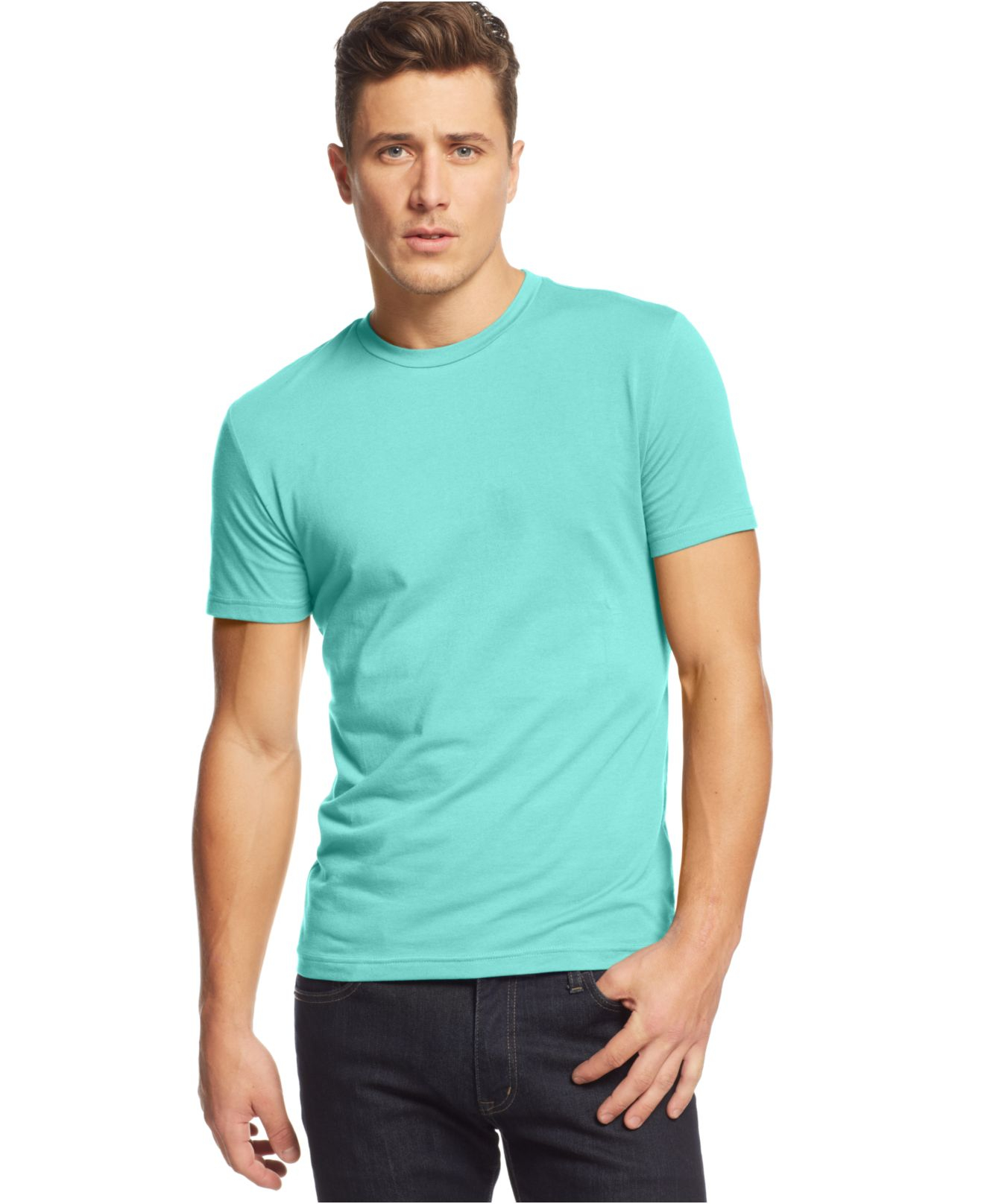 alfani slim fit crewneck t shirt in blue for men lyst. Black Bedroom Furniture Sets. Home Design Ideas