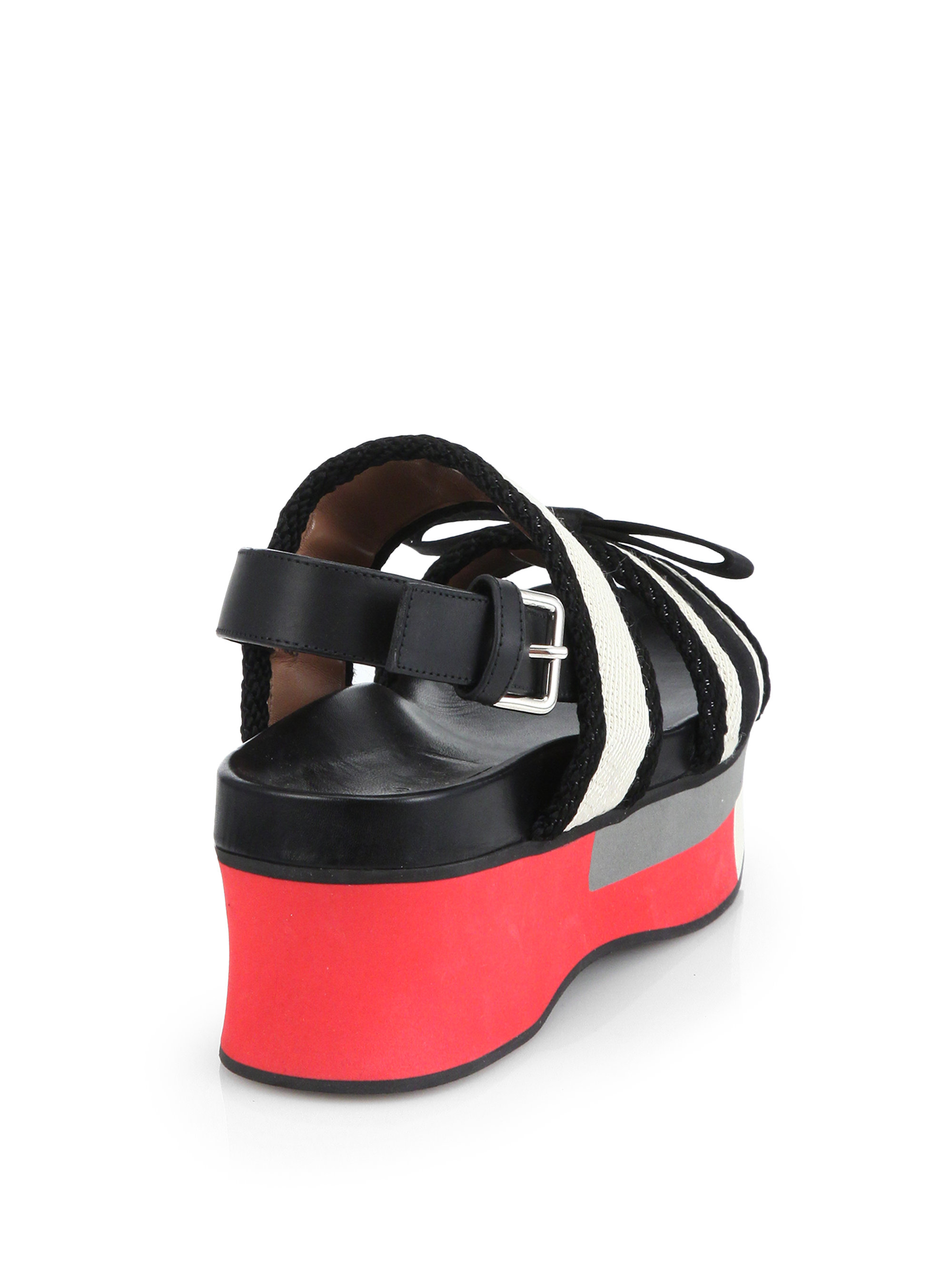 92cdf563c6 Marni Leather & Woven Bow Double-strap Platform Sandals in Black - Lyst