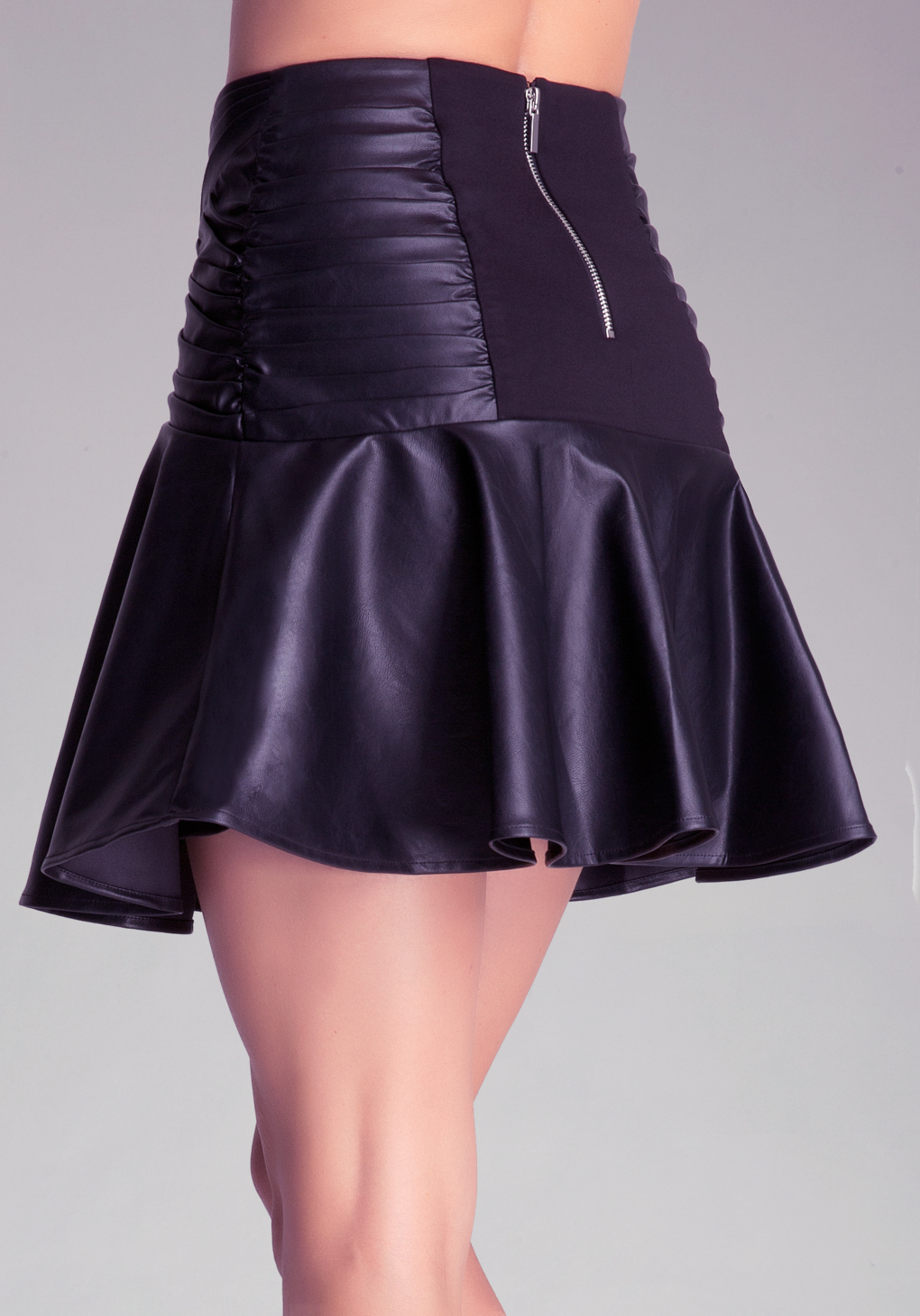 bebe faux leather flounce skirt in black lyst