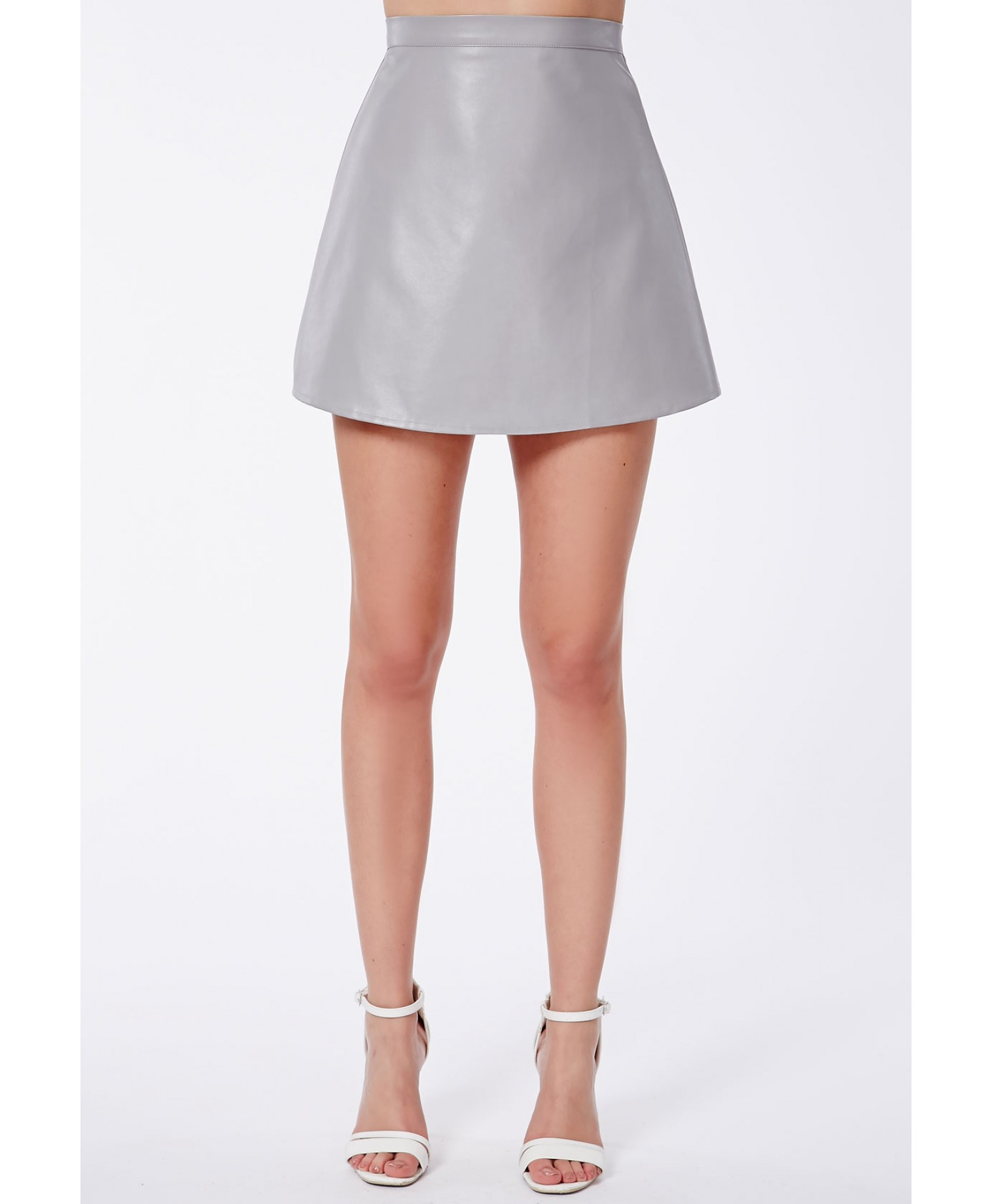 Missguided Shalon A-Line Mini Skirt In Faux Leather in Gray | Lyst