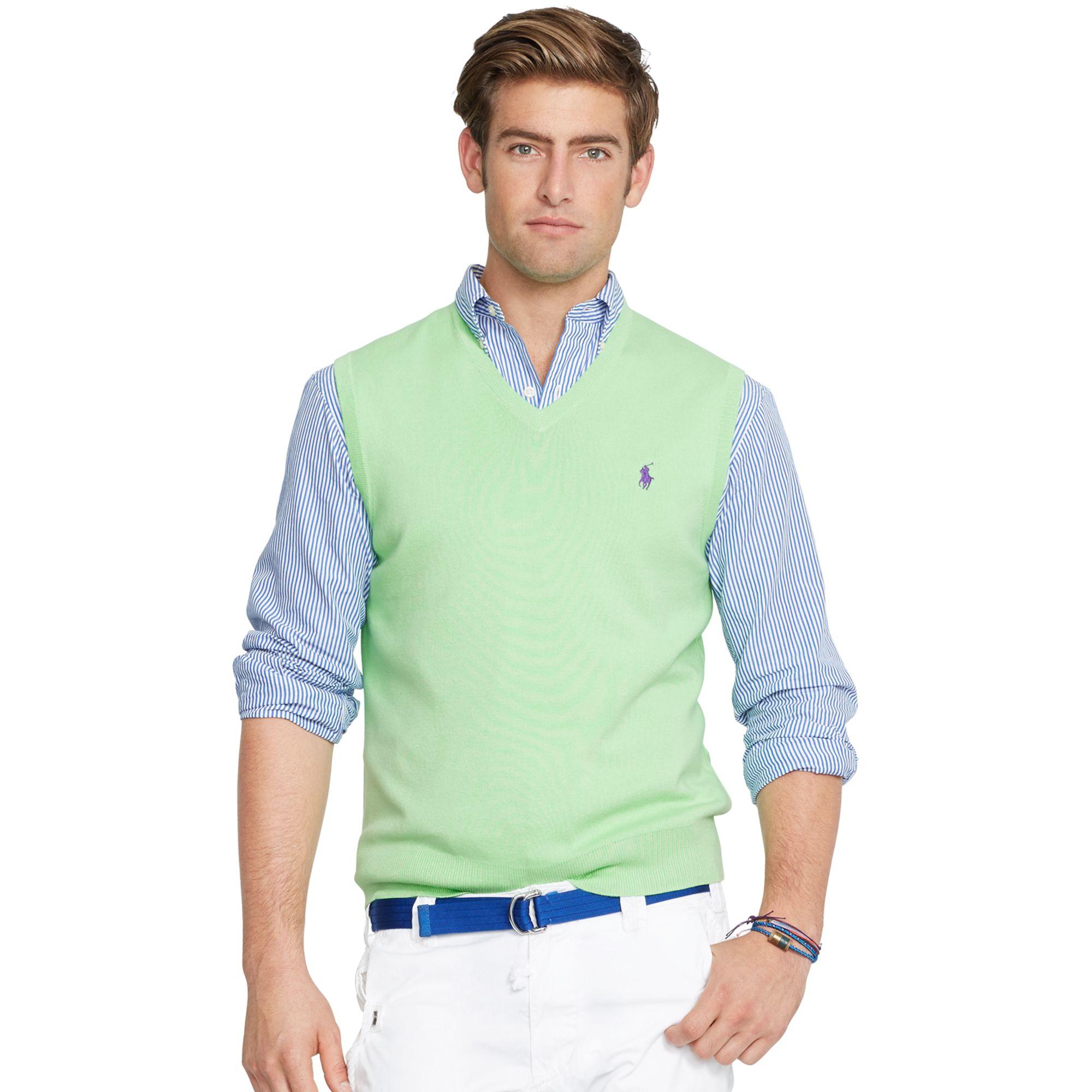 polo ralph lauren pima v neck vest in green for men optic lime lyst. Black Bedroom Furniture Sets. Home Design Ideas