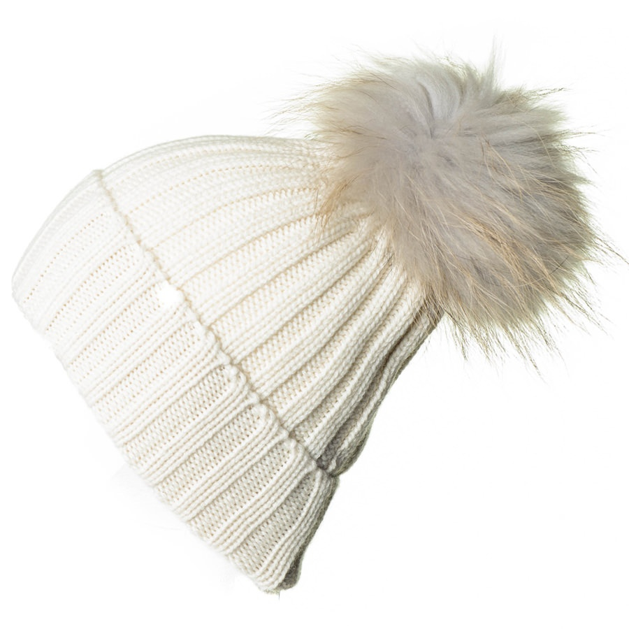 Lyst - Black.co.uk Cream Cashmere And Fur Pom Pom Beanie in Natural ... 411865258f8