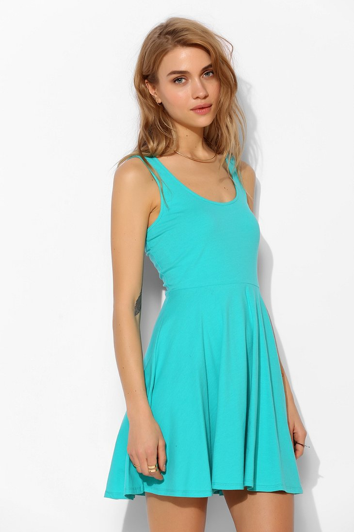 Sparkle Amp Fade Knit Skater Dress In Green Lyst