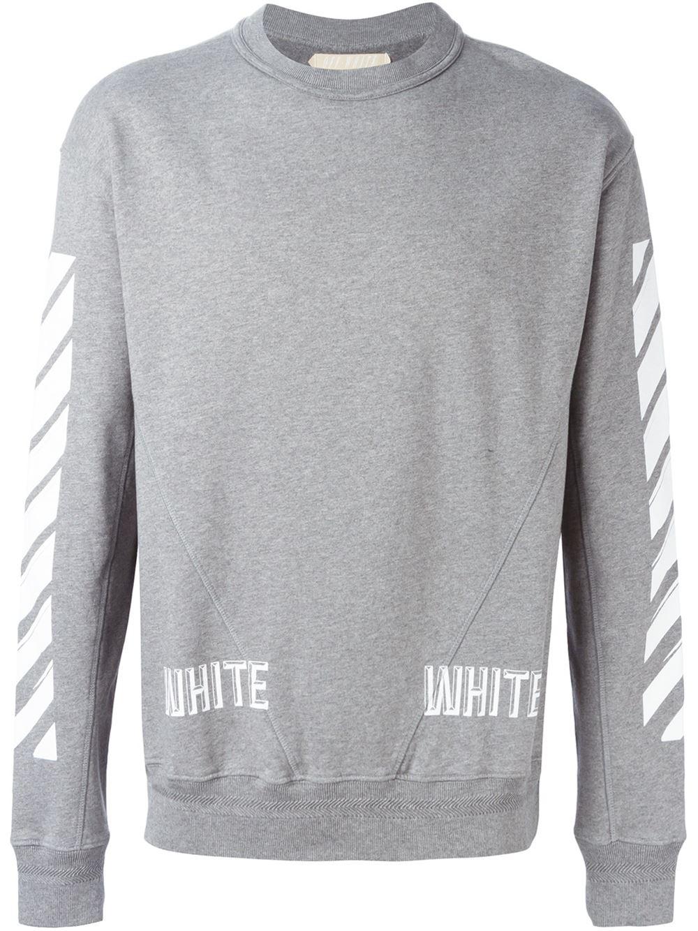 off white c o virgil abloh striped print sweatshirt in. Black Bedroom Furniture Sets. Home Design Ideas