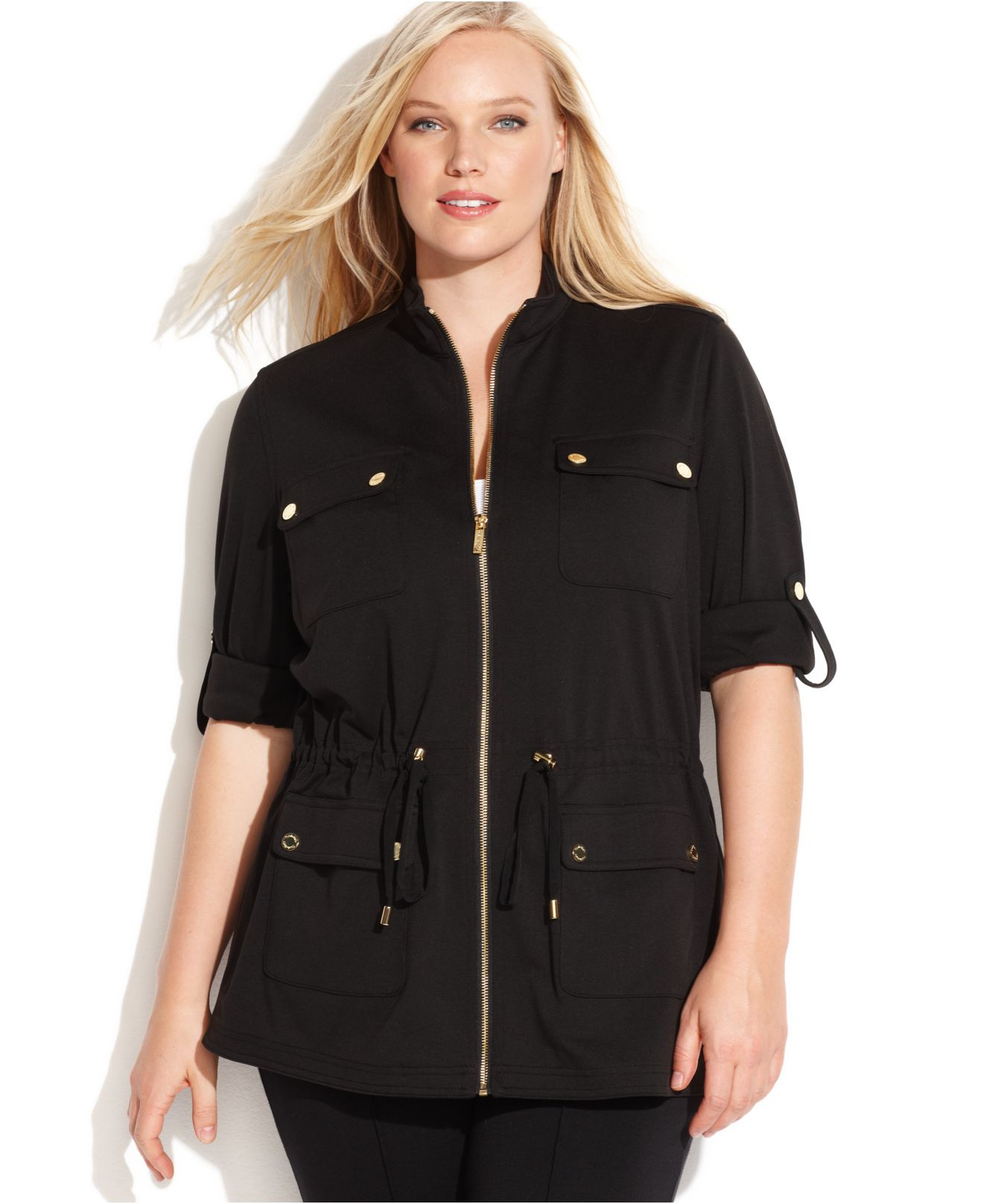 calvin klein plus size ponte-knit anorak jacket in black   lyst