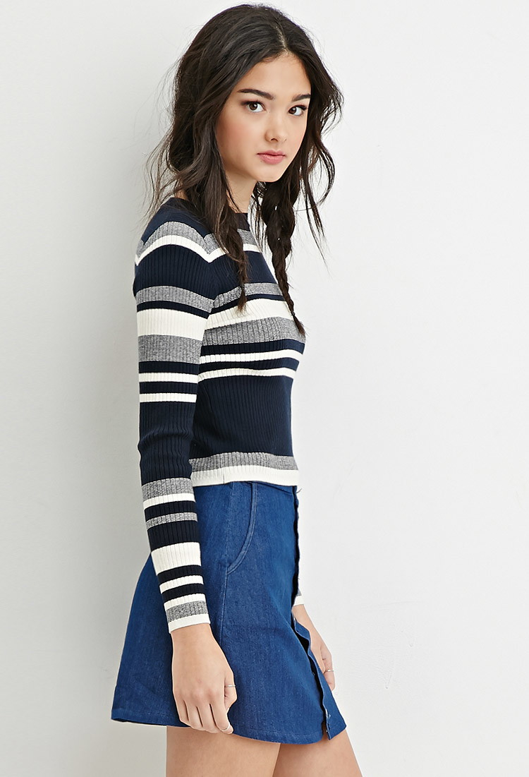 Forever 21 Cropped Stripe Sweater in Blue | Lyst