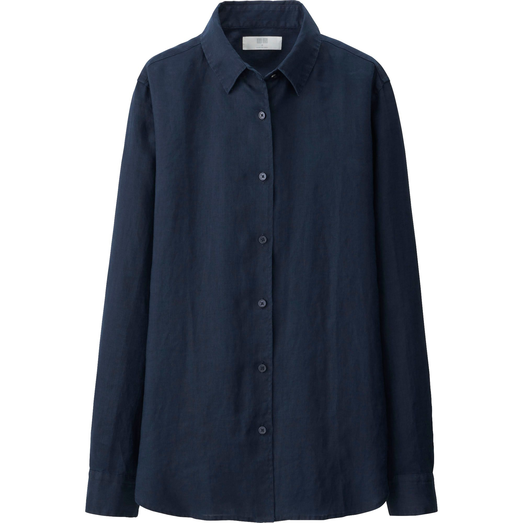 Uniqlo women premium linen long sleeve shirt in blue navy for Uniqlo premium t shirt