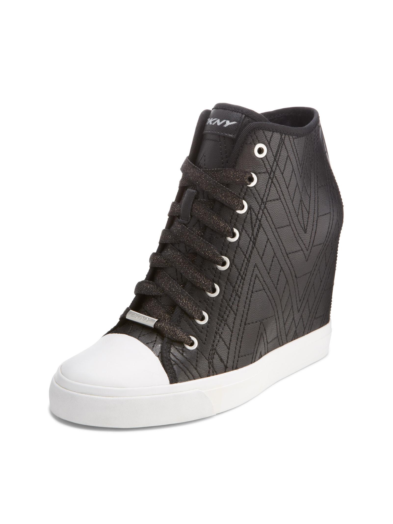 0c7bebd6394a Lyst Zip Sneaker In Black Wedge Grommet Dkny r4wqxUzAEr