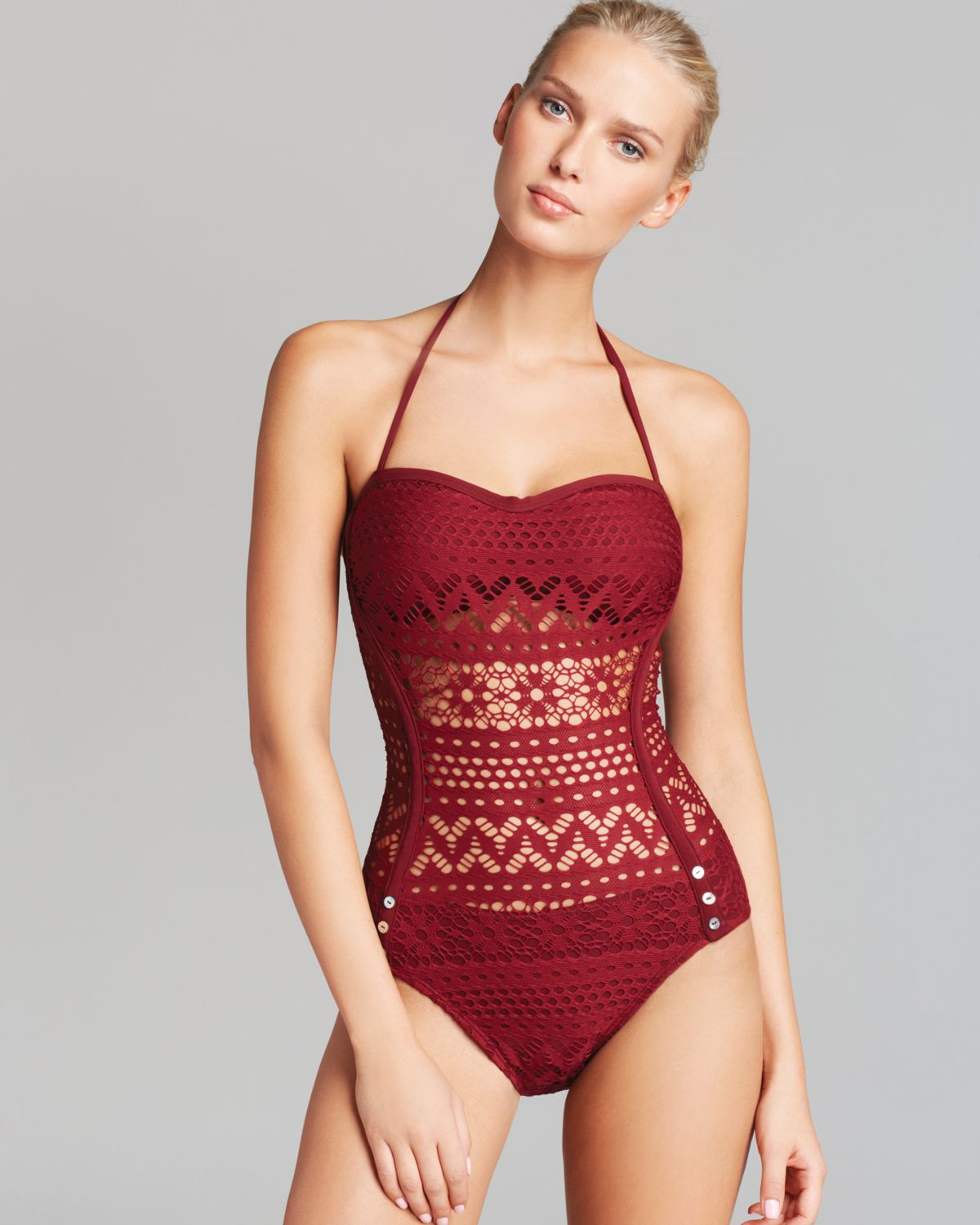 7f69919cbd Robin Piccone Penelope Bandeau One Piece Swimsuit with Sheer Waist ...