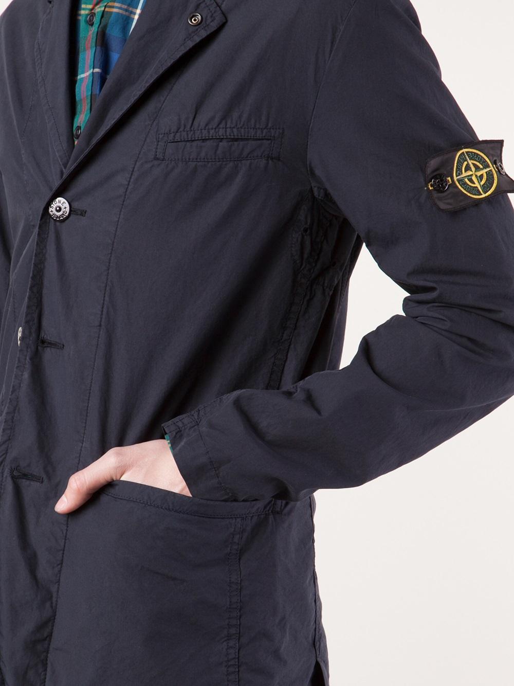 Lyst Stone Island Blazer Jacket In Blue For Men